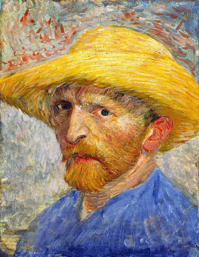 Van Gogh Self Portrait with Straw Hat, 1887